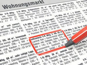 Foto Grafik Immobilienanzeigen Zeitung Stift rot