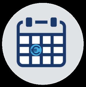 Grafik: Kalender mit Eurosymbol - Fälligkeit Kaufpreis