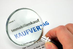 kaufvertrag immobilie lupe hand
