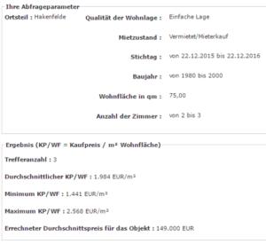 Screenshot Online Abfrage Gutachterausschuss-Kaufpreisportal Berlin
