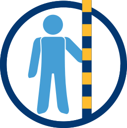 Grafik: Mann, Nivellierlatte - Eigentümer Grenzvermessung