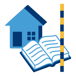Grafik: Haus, offenes Buch, Zollstock - Vermessung Grundbuch