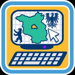 Computerbildschirm Umriss Berlin Brandenburg Berliner Bär Katasterkartenwerk
