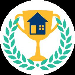 Grafik: Lorbeerkranz Pokal mit Haus ~ Erfolg Immobilienmakler Vertrag