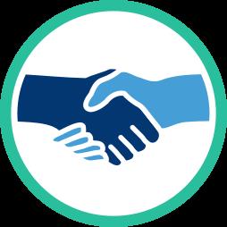 Grafik: Hände schütteln - shake hands ~ Kaufvertrag Immobilie Nachweismakler Vermittlungsmakler