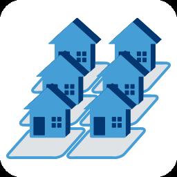 Grafik/Icon: 6 Reihenhäuschen mit Grundstücken ~ Rücksichtnahme Toleranz Nachbarschaftsrechts