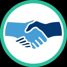 Grafik/Icon: Hände schütteln shake Hands ~ Schlichtung Streitigkeiten Nachbarschaftsrecht