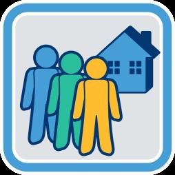 Grafik-Icon: drei Männchen Haus ~ Gemeinschaftseigentum