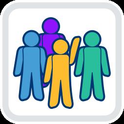 Grafik-Icon: vier Männchen Abstimmung ~ Wohnungseigentümerversammlung