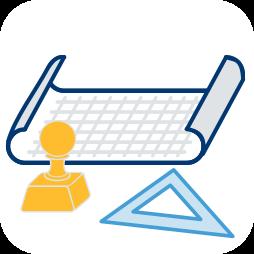 Grafik-Icon: Plan Stempel ~ Aufteilungsplan Abgeschlossenheitsbescheinigung