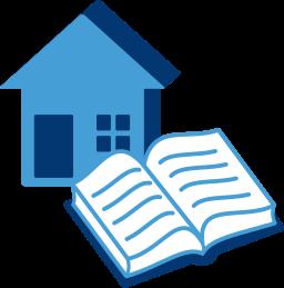 Grafik-Icon: Haus Gebäude Buch Grundbuch ~ Eintragung