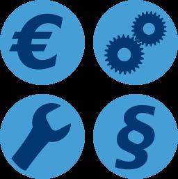 Garfik-Icon: Eurozeichen Prozess Tool Recht ~ Verwaltung Wohnungseigentum