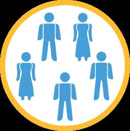 Grafik-Icon: Männchen Treffen Meeting ~ Beschlussfassung Wohnungseigentümergemeinschaft
