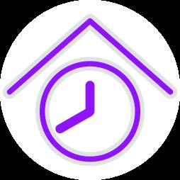 Grafik-Icon: Zeit Uhr Dach Haus ~ Wohnungseigentum Dauer