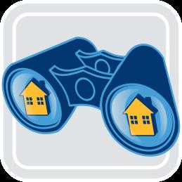 Grafik Fernglas Häuser Pflichten Immobilienmakler Käufer