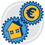 Grafik Icon Zahnrad Haus Geld Erfolg