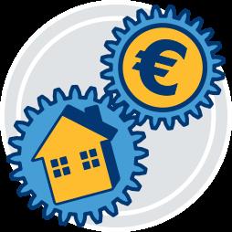 Grafik-Icon Zahnrad Haus Geld Pflichten Immobilienmakler Kaeufer Erfolg