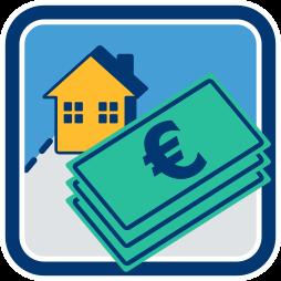 Grafik: Haus - Geldnoten - Funktionsweise von Grundschuld und Hypothek