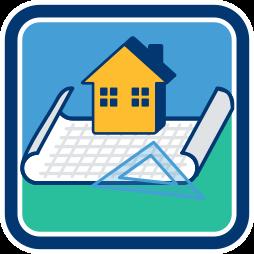 2D Icon Grafik Haus Plan Grundstück