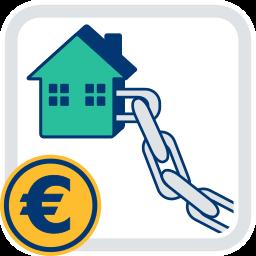 Haus Kette Eurozeichen angekettet