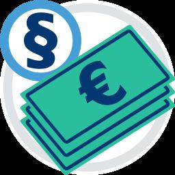 Geldscheine Eurozeichen Paragraphenzeichen Recht