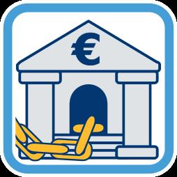 Grafik: Kette geht in Bank - Grundschuld Hypothek Grundpfandrechte