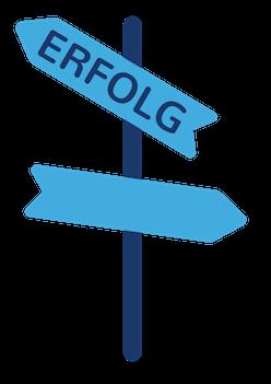 Grafik Icon Wegweiser zum Erfolg
