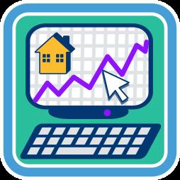 Grafik/Icon: Computer Display mit Haus und Graph ~ Risiken Maklervertrag