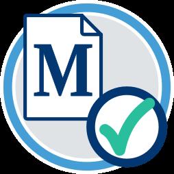Grafik/Icon: Makler Vertragsdokument mit Häkchen