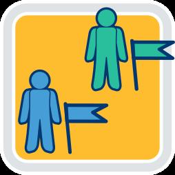 Grafik-Icon: zwei Männchen ~ Notar Vertreter bei Abwesenheit