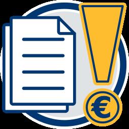 Dokument Ausrufezeichen Eurozeichen Notar Wirtschaftsberater