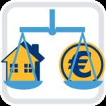 haus eurozeichen waage gleichgewicht