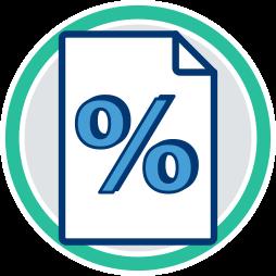 Grafik: Zinsen - Prozentzeichen - Vorteil Grundschuld