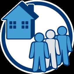 Grafik-Icon Haus Erben - Immobilie und Erbengemeinschaft - Abwicklung, Probleme, Strategie