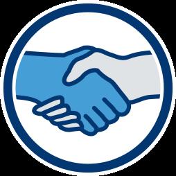Grafik-Icon Hand schütteln -  Nachlass ist Sondervermögen der Erbengemeinschaft