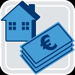 Grafik-Icon Haus Geld - Freihändig verkaufen besser als Teilungsversteigerung