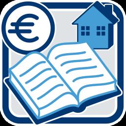 Grafik-Icon: Grundbuch Haus Immobilie Geld Eurosymbol