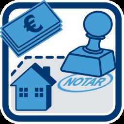 Grafik-Icon Haus Immobilie Geldscheine Notarstempel