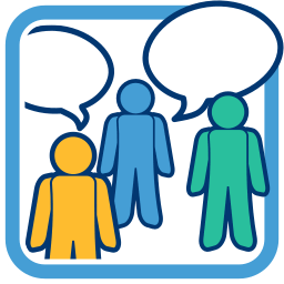 Icon Grafik Personen Sprechblasen