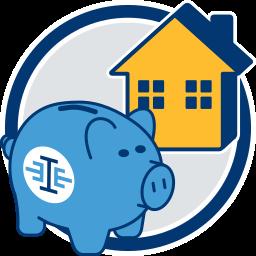 2D Grafik Icon Sparschwein Haus Immobilie