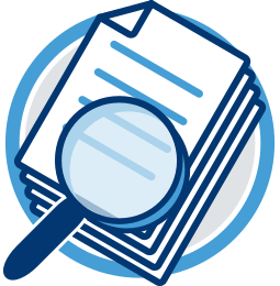 Grafik Icon Dokumente unter der Lupe