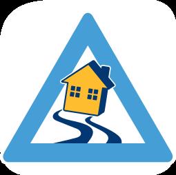 Grafik Icon Haus Warnzeichen