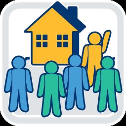 Grafik Icon Immobilienverkauf Interessenten und Verkäufer