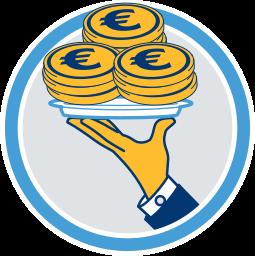 Grafik Icon Geld auf Silbertablett
