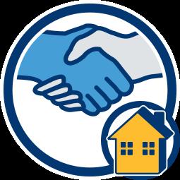Grafik Icon Handschlag Haus