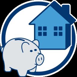 2D Icon Sparschwein Haus Immobilie