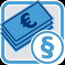 2D Icon Grafik Geld Gesetz Recht