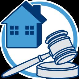 Grafik Icon Haus Immobilie Versteigerung Hammer