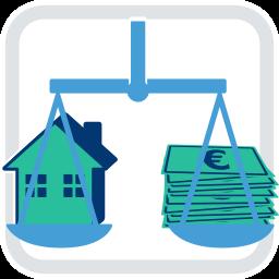 2D Grafik Icon Waage mit Haus und Geld