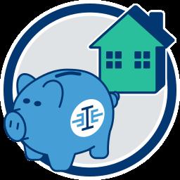 Grafik Icon Sparschwein Immobilie Haus